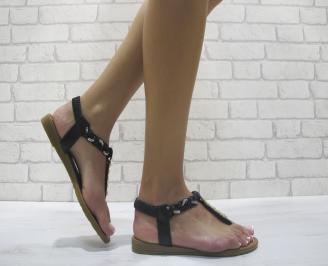 Дамски равни  сандали еко кожа  черни ZMVO-24112