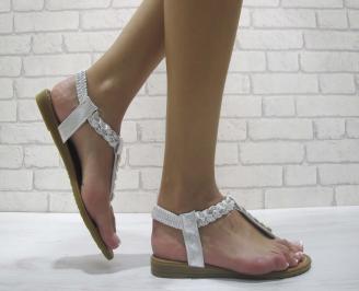 Дамски равни  сандали еко кожа сребристи QKOY-24113