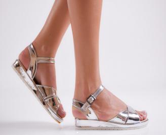 Дамски равни  сандали еко кожа/лак сребристи QWMP-24155