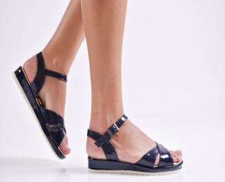 Дамски равни  сандали еко лак тъмно сини SZPI-24170