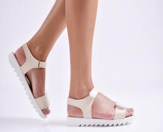 Дамски равни  сандали еко кожа бежови DISO-24199