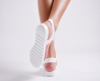 Дамски равни  сандали еко кожа бели FFFI-24206