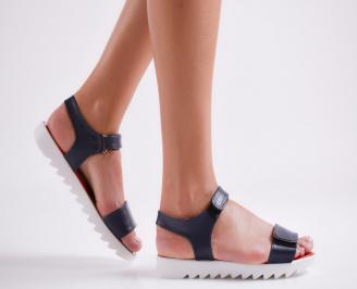 Дамски равни  сандали еко кожа тъмно сини PXNI-24212