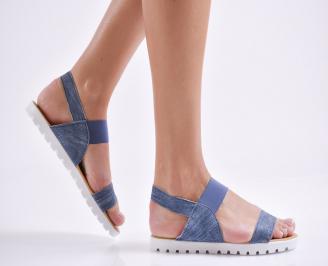 Дамски равни  сандали еко кожа  сини QJPK-24439