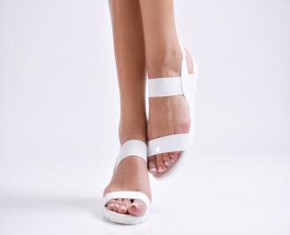 Дамски равни  сандали еко кожа /лак бели CSSP-24440