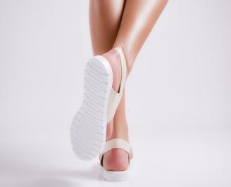 Дамски равни  сандали еко кожа бежови ETJR-24441