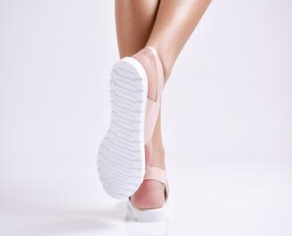 Дамски равни  сандали еко кожа /лак пудра VTAQ-24442