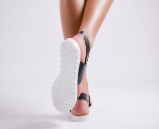 Дамски равни  сандали еко кожа  черни QXOF-24447