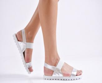 Дамски равни  сандали еко кожа сребристи QHXO-24450