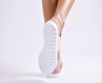 Дамски равни  сандали еко кожа златисти YZIN-24451