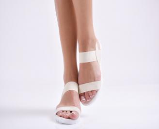 Дамски равни  сандали еко кожа бежови DTGH-24452