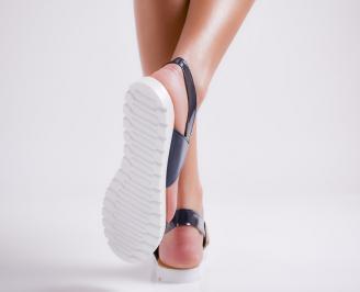 Дамски равни  сандали еко кожа/лак тъмно сини UWBM-24454