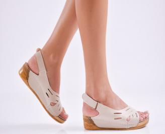 Дамски равни  сандали еко кожа бежови XVNA-27539