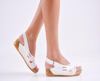 Дамски равни  сандали еко кожа бели QSIB-27544