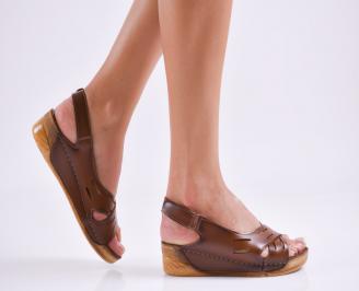Дамски равни  сандали еко кожа кафяви FDLC-27551