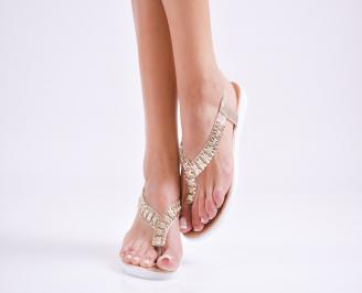 Дамски равни  сандали еко кожа златисти CNQI-27575