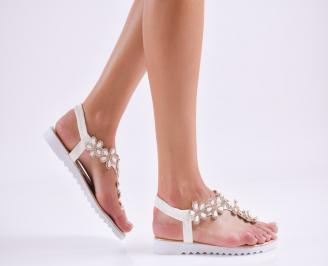 Дамски равни  сандали еко кожа бели LHRG-27579