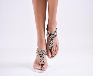 Дамски равни сандали  еко кожа черни CQKG-27589