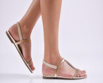 Дамски равни  сандали еко кожа златисти RAET-27618