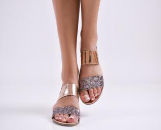 Дамски равни  сандали еко кожа/лак  пудра EVOQ-27619