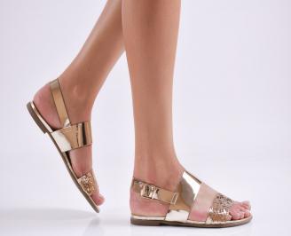 Дамски равни  сандали еко кожа златисти YJYI-27621