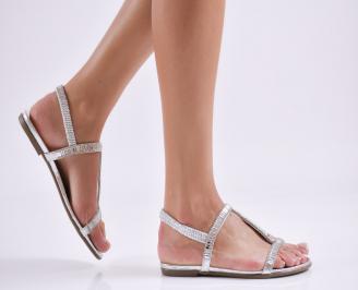 Дамски равни  сандали еко кожа сребристи FPJA-27622