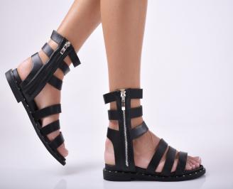 Дамски равни сандали  естествена кожа черни SZGU-1012055