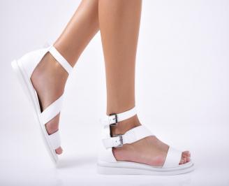 Дамски равни сандали  естествена кожа бели ICXS-1012091