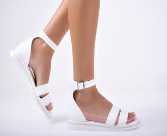 Дамски равни сандали  естествена кожа бели ZFTE-1012093