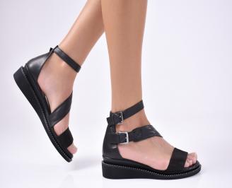 Дамски равни сандали  естествена кожа черни HJMQ-1012129