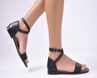 Дамски равни сандали  естествена кожа черни PZRM-1012132