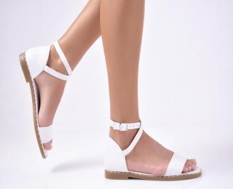 Дамски равни сандали  естествена кожа бежови OZFV-1012183