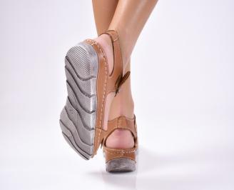 Дамски равни сандали  естествена кожа кафяви KAVV-1012246