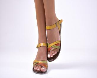 Дамски равни  сандали естествена кожа жълти GLCD-1012661