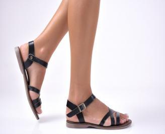 Дамски равни  сандали естествена кожа черни NXDF-1012662