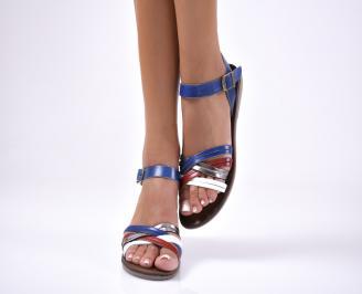 Дамски равни  сандали естествена кожа сини HPGU-1012664