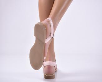 Дамски равни  сандали естествена кожа пудра XLEQ-1013803