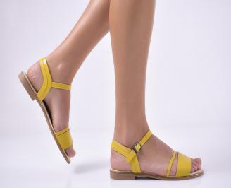 Дамски равни  сандали естествена кожа жълти WZNV-1013805