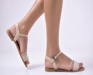 Дамски равни  сандали естествена кожа бежови OBQD-1013809