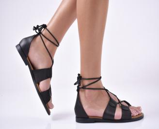 Дамски равни  сандали естествена кожа черни. TJVZ-1013867