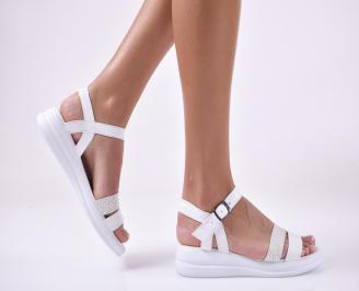 Дамски равни  сандали естествена кожа бели. SCNT-1013907