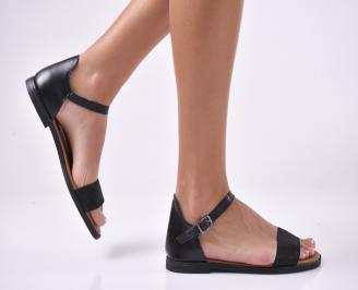 Дамски равни  сандали естествена кожа черни. TROJ-1013920