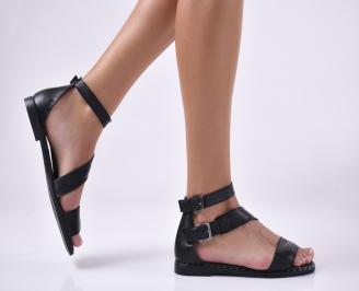 Дамски равни сандали естествена кожа черни. PMVF-1013933