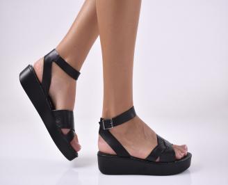 Дамски равни сандали естествена кожа черни. OYIP-1013981
