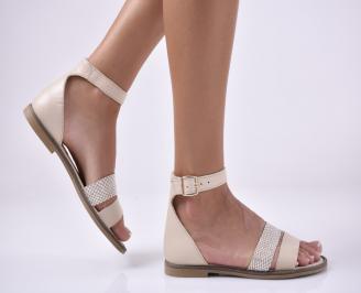 Дамски равни сандали естествена кожа бежави. GDLE-1013985