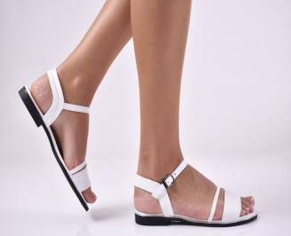 Дамски равни  сандали естествена кожа бели TAHL-1013988