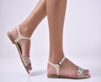 Дамски равни сандали естествена кожа бежови TGET-1013991