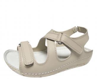 Дамски равни сандали естествена кожа бежови YAWZ-21709