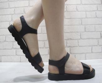 Дамски равни сандали естествена кожа черни FYCT-23981