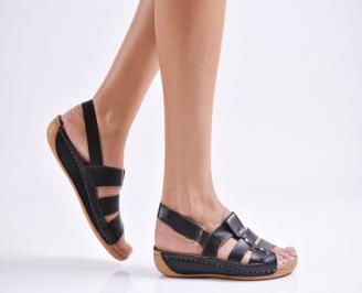 Дамски равни сандали естествена кожа черни DASQ-23992
